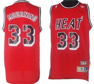 Miami Heat #33 Alonzo Mourning Red Swingman Throwback Jersey