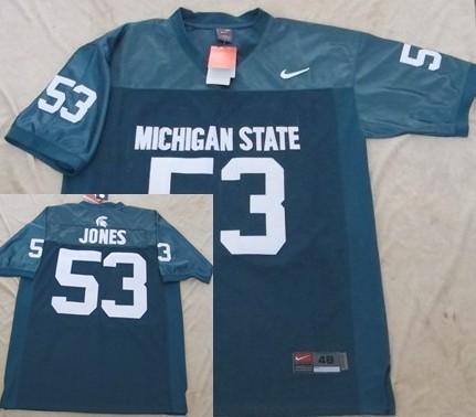 Michigan State Spartans #53 Greg Jones Green Jersey