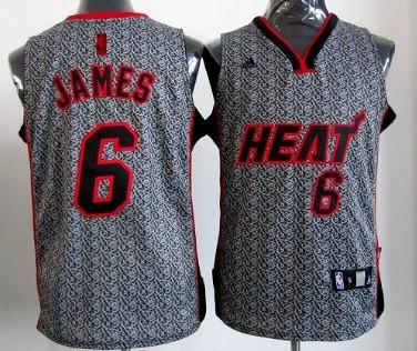 Miami Heat #6 LeBron James Gray Static Fashion Jersey