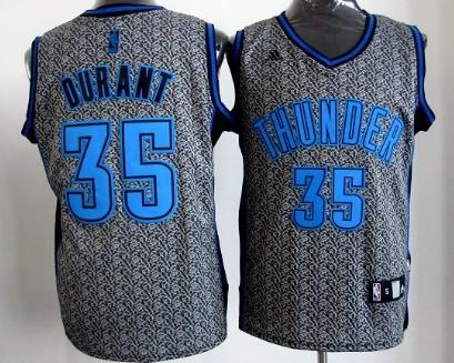 Oklahoma City Thunder #35 Kevin Durant Gray Static Fashion Jersey