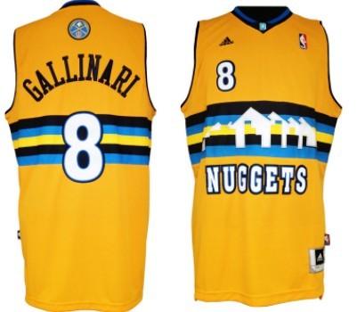 Denver Nuggets #8 Danilo Gallinari Revolution 30 Swingman Yellow Jersey