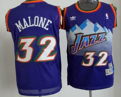 Utah Jazz #32 Karl Malone Mountain Purple Swingman Throwback Jersey