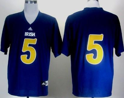 Notre Dame Fighting Irish #5 Everett Golson 2012 Shamrock Series Navy Blue Jersey