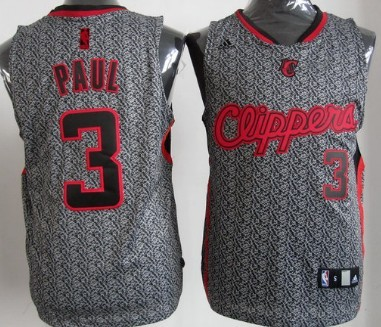 Los Angeles Clippers #3 Chris Paul Gray Static Fashion Jersey
