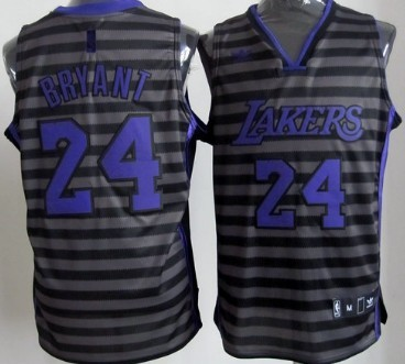 Los Angeles Lakers #24 Kobe Bryant Gray With Black Pinstripe Jersey