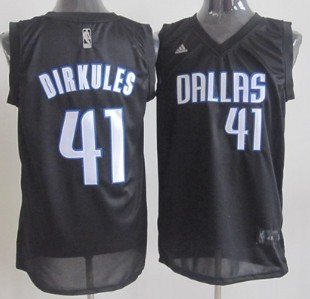 Dallas Mavericks #41 Dirkules Black Fashion Jersey