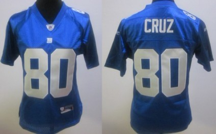New York Giants #80 Victor Cruz Blue Womens Jersey