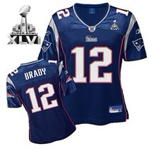 New England Patriots #12 Tom Brady Blue Womens 2012 Super Bowl XLVI Jersey