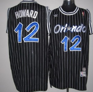 Orlando Magic #12 Dwight Howard Black Swingman Throwback Jersey