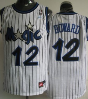 Orlando Magic #12 Dwight Howard White Swingman Throwback Jersey