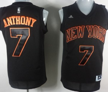 New York Knicks #7 Carmelo Anthony All Black With Orange Fashion Jersey