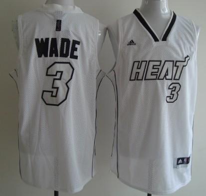 Miami Heats #3 Dwyane Wade White With Silvery Fashion Jersey