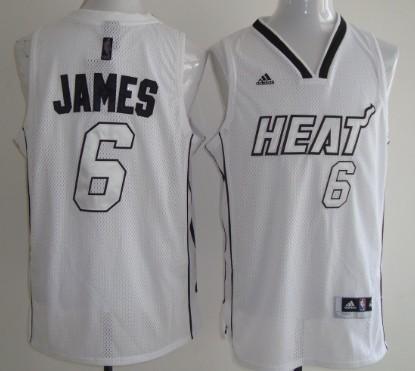 Miami Heats #6 LeBron James White With Silvery Fashion Jersey