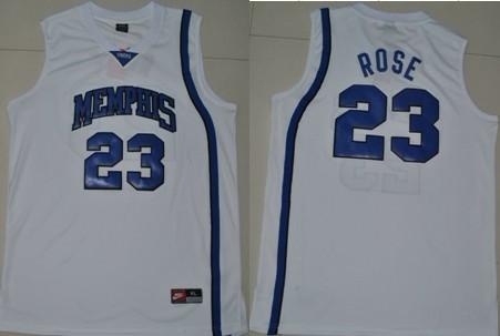 Memphis Tigers #23 Derrick Rose White Jersey