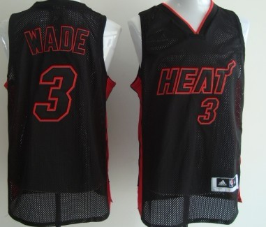 Miami ami Heat #3 Dwyane Wade All Black With Red Swingman Jersey