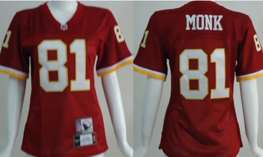Washington Redskins #81 Art Monk Red Throwback Womens Jersey