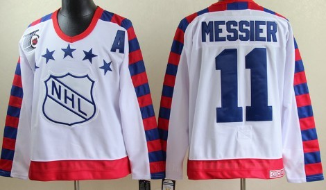 NHL 1992 All-Star #11 Mark Messier White 75TH Throwback CCM Jersey