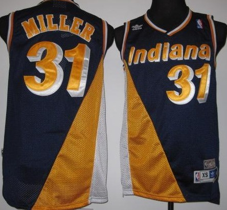 Indiana Pacers #31 Reggie Miller Navy Blue/Yellow Swingman Throwback Jersey