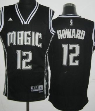 Orlando Magic #12 Dwight Howard Revolution 30 Swingman Black With White Jersey