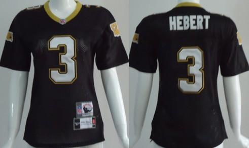 New Orleans Saints #3 Bobby Hebert Black Throwback Womens Jersey