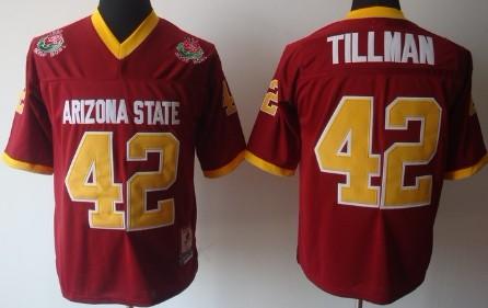 Arizona State Sun Devils #42 Pat Tillman Red Throwback Jersey