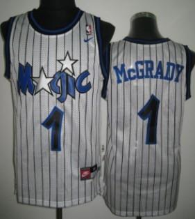 Orlando Magic #1 Tracy McGrady White Swingman Throwback Jersey