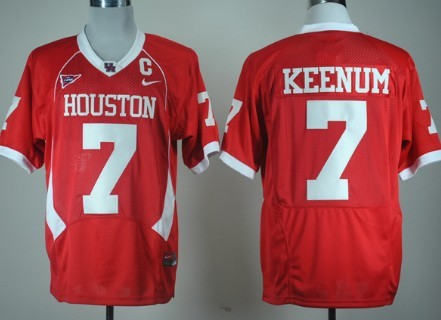 Houston Cougars #7 Case Keenum Red C-USA Patch Jersey