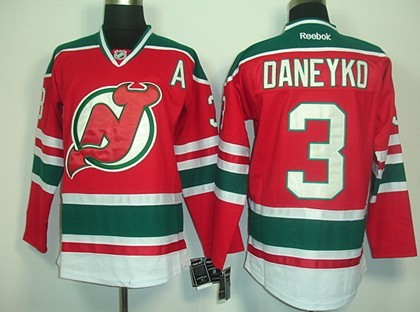 New Jersey Devils #3 Ken Daneyko Red With Green Jersey