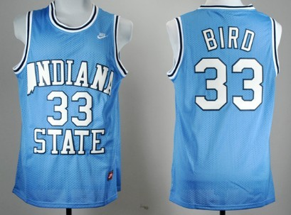 Indiana State Sycamores #33 Larry Bird Light Blue Swingman Jersey