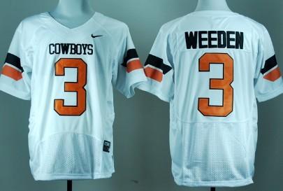 Oklahoma State Cowboys #3 Brandon Weeden White Pro Combat Jersey