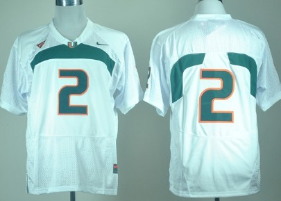 Miami Hurricanes #2 With No Name White Jersey