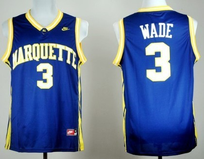 Marquette Golden Eagles #3 Dwyane Wade Navy Blue Jersey