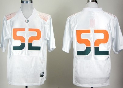 Miami Hurricanes #52 Ray Lewis White Pro Combat College Football Jersey