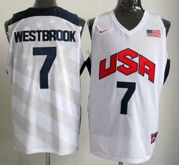 2012 Olympics Team USA #7 Russell Westbrook Revolution 30 Swingman White Jersey
