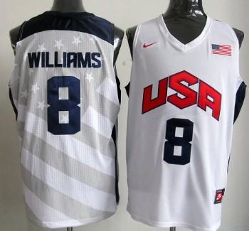 2012 Olympics Team USA #8 Deron Williams Revolution 30 Swingman White Jersey