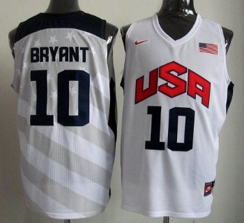 2012 Olympics Team USA #10 Kobe Bryant Revolution 30 Swingman White Jersey