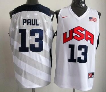 2012 Olympics Team USA #13 Chris Paul Revolution 30 Swingman White Jersey