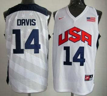 2012 Olympics Team USA #14 Anthony Davis Revolution 30 Swingman White Jersey