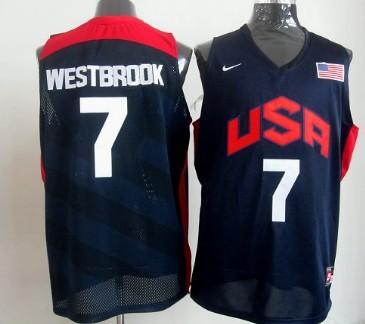 2012 Olympics Team USA #7 Russell Westbrook Revolution 30 Swingman Blue Jersey