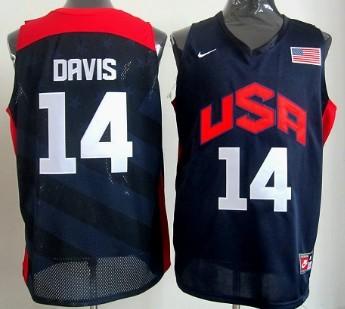2012 Olympics Team USA #14 Anthony Davis Revolution 30 Swingman Blue Jersey