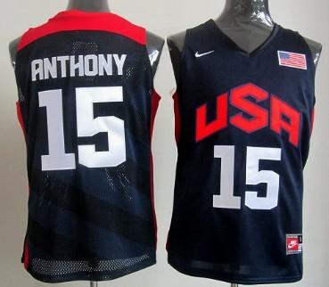 2012 Olympics Team USA #15 Carmelo Anthony Revolution 30 Swingman Blue Jersey