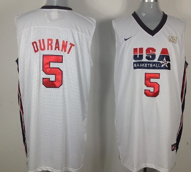 1992 Olympics Team USA #5 Kevin Durant White Swingman Jersey