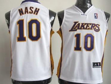 Los Angeles Lakers #10 Steve Nash White Kids Jersey