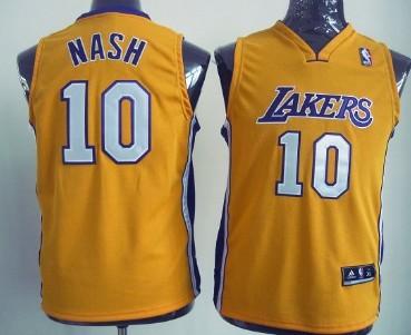 Los Angeles Lakers #10 Steve Nash Yellow Kids Jersey
