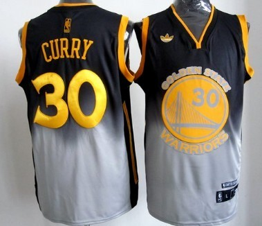 Golden State Warriors #30 Stephen Curry Black/Gray Fadeaway Fashion Jersey