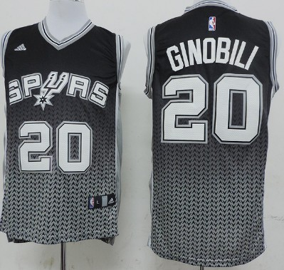 San Antonio Spurs #20 Manu Ginobili Black/White Resonate Fashion Jersey