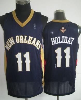 New Orleans Pelicans #11 Jrue Holiday Navy Blue Swingman Jersey