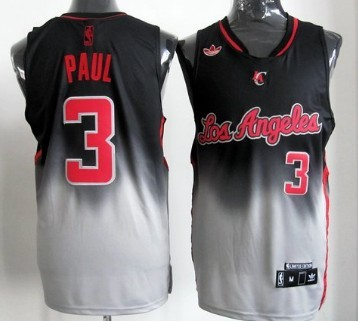 Los Angeles Clippers #3 Chris Paul Black/Gray Fadeaway Fashion Jersey