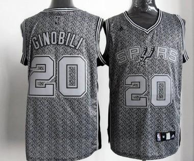 San Antonio Spurs #20 Manu Ginobili Gray Static Fashion Jersey