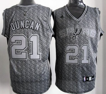 San Antonio Spurs #21 Tim Duncan Gray Static Fashion Jersey